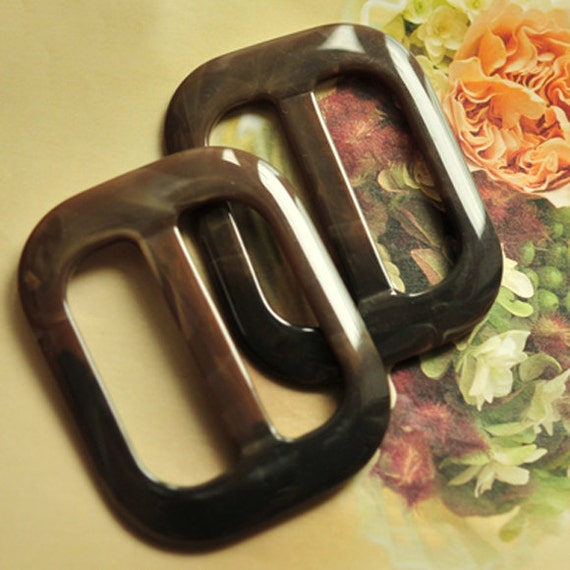 Plastic Buckles Acrylic Tortise Shell Brown Large Flat- 2 Pieces