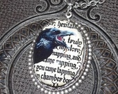 Antique silver plated brass and handmade resin dome cabochon Raven necklace Steampunk Gothic