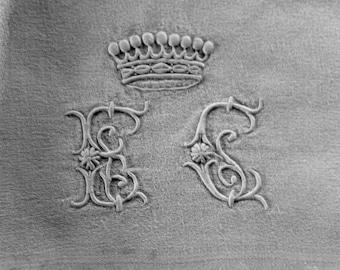Antique monogrammed French linen handtowel