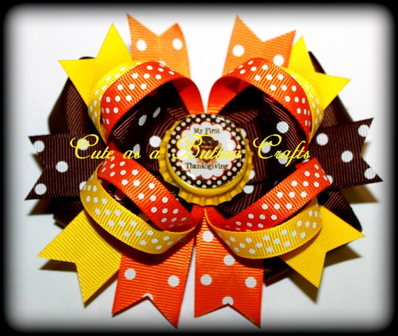 Beautiful Mix and match Baby's first Thanksgiving Boutique Hairbow can say happy thanksgiving happy turkey day too