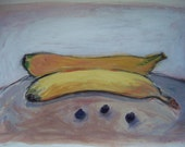 Two Bananas and Three Blueberries Still Life