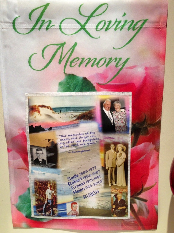 PHOTO FLAG  - Inspirational or Patriotic - Garden Flag 12in-18in with Fabric Photo Collage - up to 8 of your precious photos & text