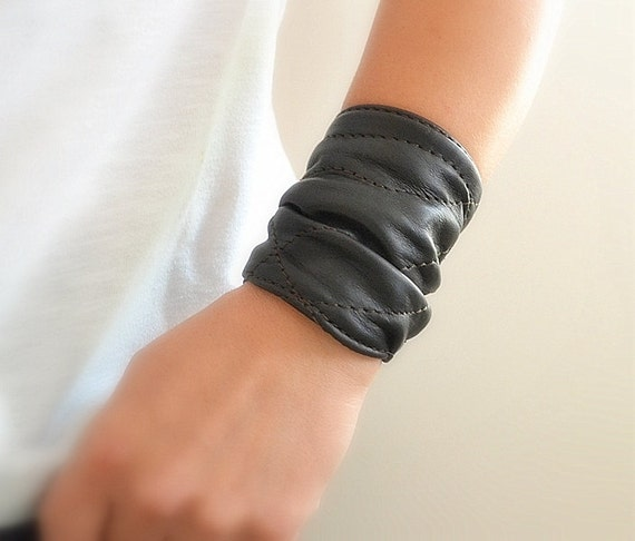 Black Leather Cuff Leather Wrap Bracelet Women Bracelet