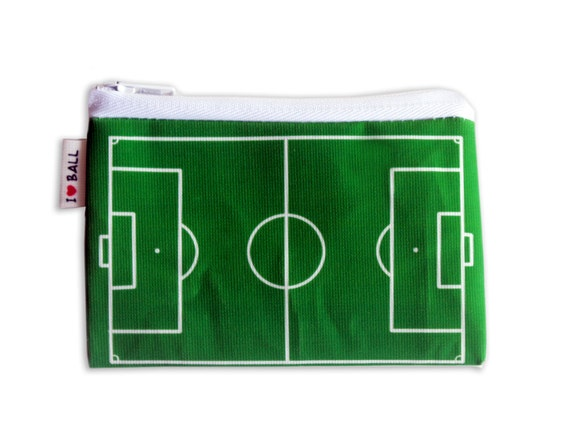 Soccer field / Football field printed wallet design - playing ball green grass field coin purse for change and credit cards card holder