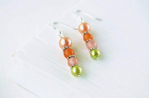 Orange and Lime Earrings: Tutti Fruity Earrings, Orange Bead Earrings, Pink Bead Earrings, Lime Green Earrings, Fall, Autumn, September