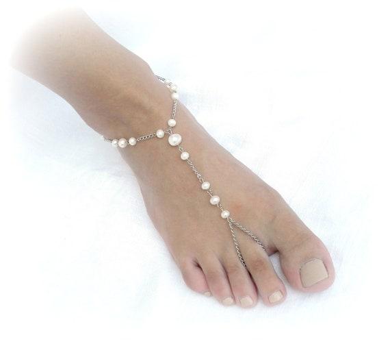 Barefoot sandals wedding, beach wedding barefoot sandals, pearl jewelry, foot jewelry, chain barefoot sandals, ankle bracelets, beach bride