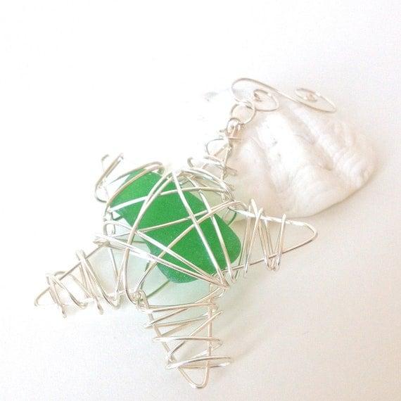 Items Similar To Sea Glass Christmas Tree Ornament Star On