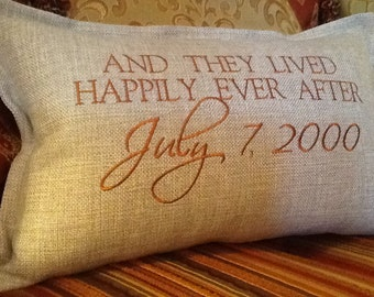 Pillow Cover - Pillow And They Lived Happily Ever After with Your Date  Embroidered Pillow Cover - Wedding Gift - Custom Embroidery