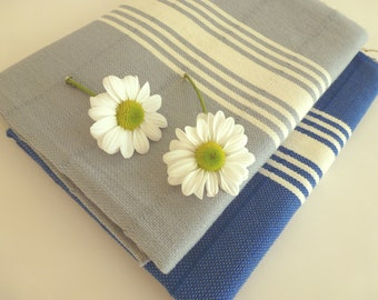Set of 2 Natural Turkish hand towel, Tea Towel, BATH towel, Peshkir , cotton ,spa, yoga, soft baby, grey, valentine's day , gift