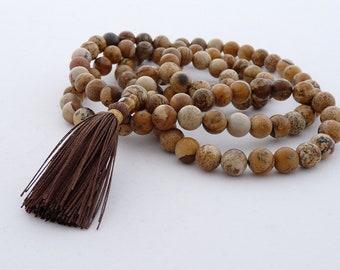 Brown mala - Picture jasper mala - 108 8mm beads buddhist mala - Japa mala - Tassel necklace