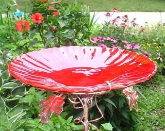 "Stained Glass BIRD BATH, Red, copper art, 8.5"" diameter, outdoors, fused glass, Suncatcher, Garden Decor"