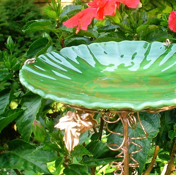 Gifts for Men, BIRD BATH, Garden, stained glass, copper, Spring Green, Home Decor, Housewares