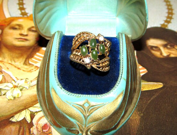 Vintage Estate Ring - 18kt Gold Heavy Plating with Glass Rhinestones and Faux Jade - Art Nouveau Style