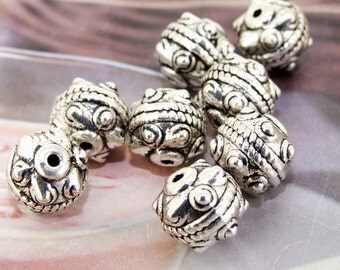 8beads--- Charm 10mm Dot Ball Fittings Beads Connector Finding Plated Silver Filigree Metal---3D