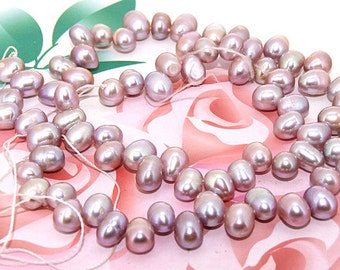 Loose natural lavender rice 6mmx 8mm freshwater cultured Pearl beads FULL STRAND