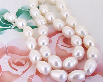 Loose  Luster 9mmx 12mm Rice White freshwater cultured Pearl beads FULL STRAND