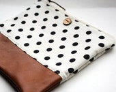 polka dot and brown leather clutch purse by rouge and whimsy