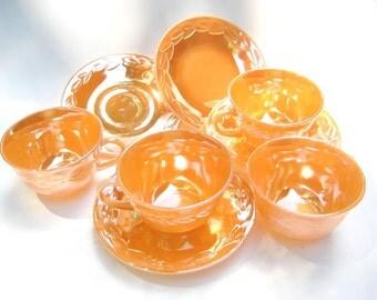 Vintage Fire King Peach Lustre, Set of  4 Cups and Saucers - Laurel Leaf, Oven Ware, Orange Luster