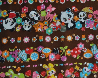 2 meters/yards - Cosmo  fabric with kawaii animals  print - brown