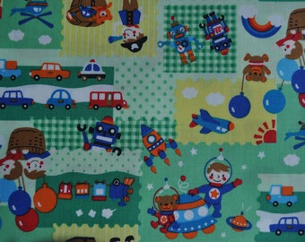 2 meters/yards - Cosmo  fabric with kawaii robot cars theme  print