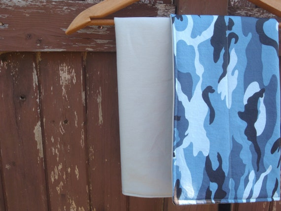 Changing Pad for Baby/Toddler Boy - Grey/Gray and Blue and Black Camouflage Print - Washable/ Travel Pad