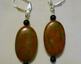 red and black marble earrings