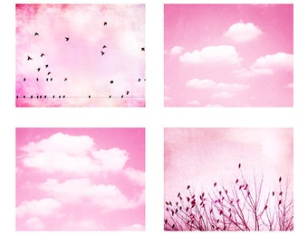 Pink Nursery Photography Set - baby girls room girly photo set clouds birds light pink white pastel bright wall art set - Four Photographs
