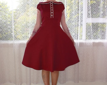 """1950s Retro """"Jessica"""" Office Dress with Full Skirt, Peter Pan Collar, White Piping and Puff Sleeves - Any Colour -Custom made to Fit"""