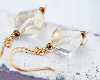 Chunky Gold Earrings, Champagne, Gold Earrings, Chunky Earrings, SALE Earrings, one of a kind, Gift for Her, Gift For Mom, Champagne Earring