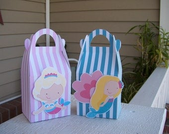 Mermaid Gable Favor Boxes Set of 12