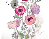8x10 Giclee print, Flowers painting, Flowers print, Watercolor flower,Hot pink flowers