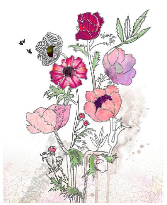 8x10 Giclee print Flowers painting Flowers print Watercolor