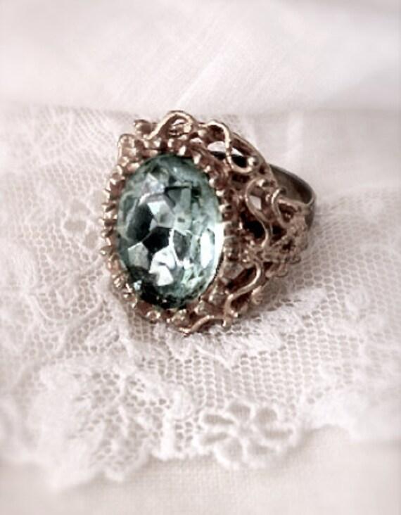 Vintage Jewelry - Vintage Victorian Style Adjustable Gold Aquamarine Cocktail Ring