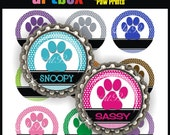 Editable Paw Prints Bottle Cap Images - Printable 4x6 Digital Collage Sheet - BottleCap One Inch Circles for Badge Reels, Hair Bows, Magnets