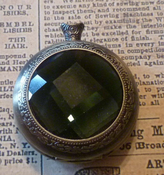 Steampunk Supplies Empty Antique Brass Pocket Watch Case with Emerald Green Cover