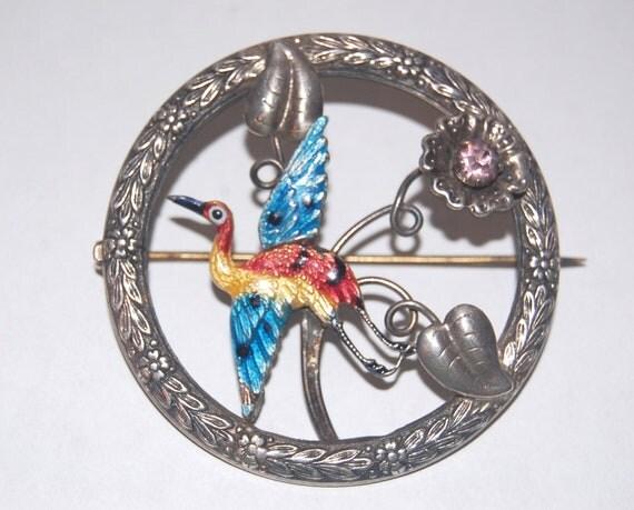 SALE Awesome Art Nouveau Sterling & Enamel Ward Bros Crane Brooch