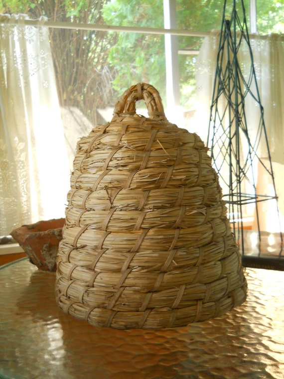 Vintage Large Woven Bee Skep Garden Decor By