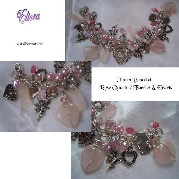 Rose Quartz, Faeries and Hearts Charm Bracelet, more than 30 charms,etc. - OOAK ,S&H Included