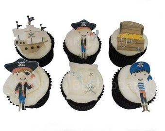 Pirate Cupcake Toppers and Cake Decorations, Birthday Cake, Edible Image, Wafer Paper, Boys Birthday Cake