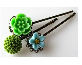 gardener gift, flower hair pins bobby pins, gift ideas, flower hair accessories, bobby pins set green blue hairpins, gift under 20