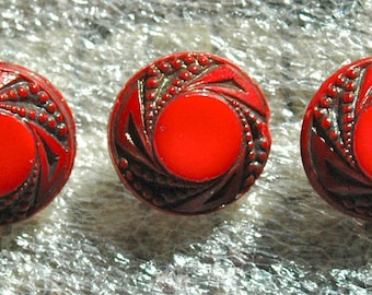 5 Red Victorian Glass Buttons