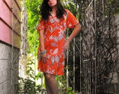 Orange hippy dress with paisley pattern