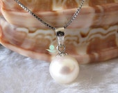 Pearl Necklace - 18 inches 7.5-8.0mm Ivory Freshwater Pearl Pendant Necklace - Free shipping