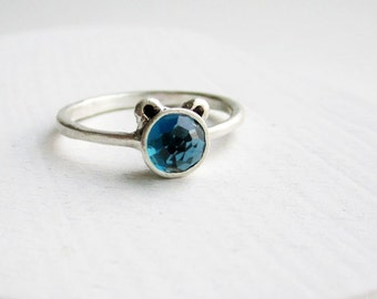 Blue Bear Ring, London Blue Topaz and Sterling Silver, MADE TO ORDER