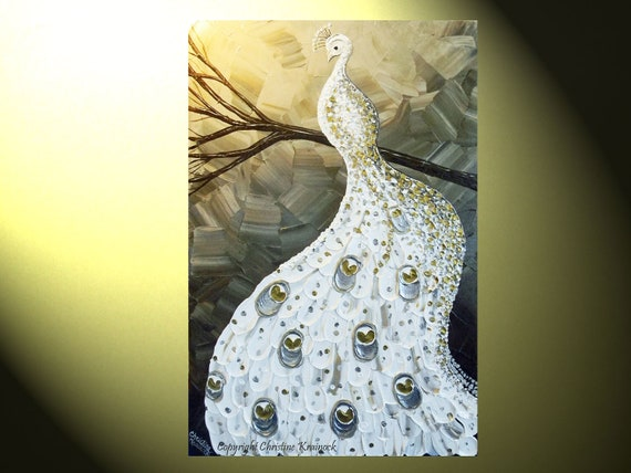 """ORIGINAL Abstract Painting Peacock Painting White Peacock Silver Gold Modern Textured Impasto Fine Art Palette Knife, 36x24"""" -Christine"""