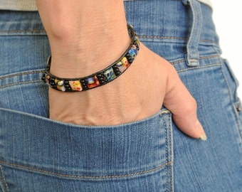Leather Beaded Wrap Bracelet with Mulitcolor Square Millefiori Beads