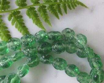 Fern Green Glass Flower Beads