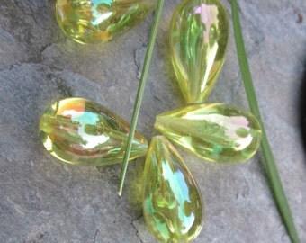 Iridescent Lucite Lemon Drop Beads