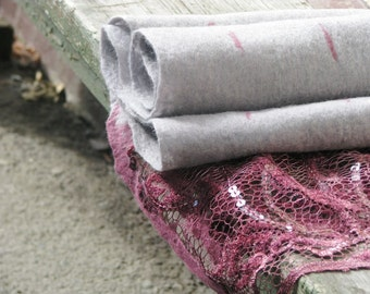 SALE!!! Grey Felted  wool Scarf whith Pink lace. Warm. Eco friendly. Funky women's clothing. Gift under 75. Ready to ship
