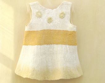 OOAK white and yellow baby girl nuno felted dress 9-18 month. Gifts Under 75. Warm and soft. Eco friendly.